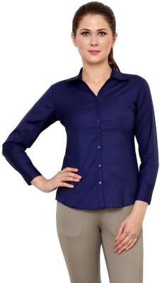 Apoyo Women's Solid Formal Dark Blue Shirt