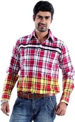 S9 Men's Checkered Casual Red, White, Black, Yellow Shirt
