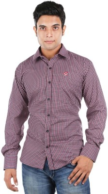Relish Men's Checkered Formal Black, Red Shirt
