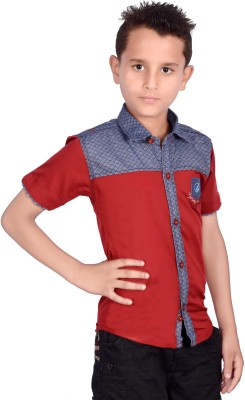ilomilo Boy's Self Design Casual Red Shirt