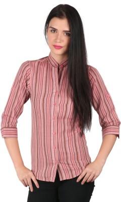 Mahikrite Women's Striped Casual Red Shirt