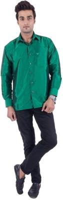 Warrior Men's Solid Casual Green Shirt