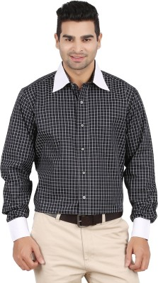 ALLTIMES Men's Checkered Formal Black Shirt