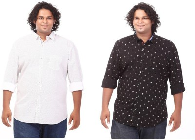 CIROCO Men's Printed Casual White, Black Shirt