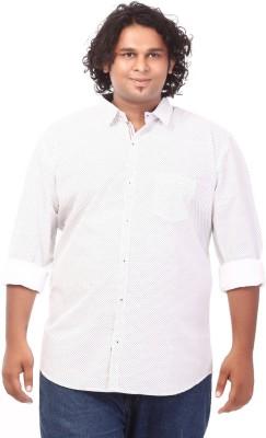 Ciroco Men's Polka Print Casual White Shirt