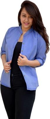 Aarti Collections Women's Self Design Casual Denim Light Blue Shirt