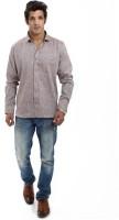 Variancevesture Formal Shirts (Men's) - VarianceVesture Men's Solid Formal Linen Brown Shirt
