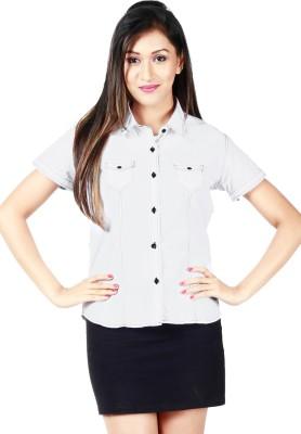 Faireno Women's Solid Casual White Shirt