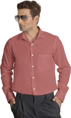 Willmohr Men's Checkered Formal Red Shirt