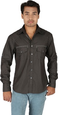 TomBerry Men's Striped Casual Black Shirt