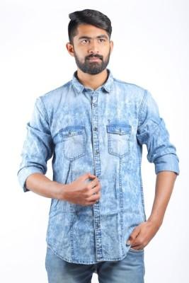 Cortos Men's Self Design Casual Denim Blue Shirt