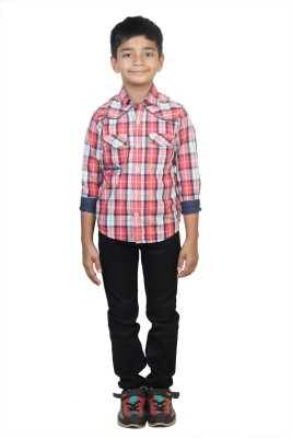 STOP by Shoppers Stop Boy,s Checkered Casual Red Shirt