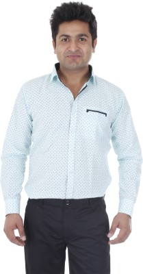 Aces Blue Men's Printed Casual Green Shirt