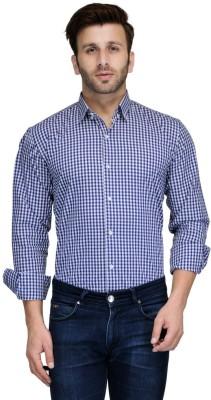 Edjoe Men's Checkered Casual Dark Blue Shirt