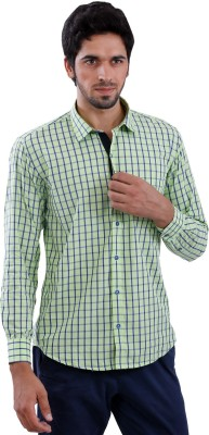 Cairon Men's Checkered Casual Light Green Shirt