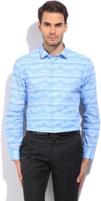 Arrow New York Men's Printed Formal Blue Shirt