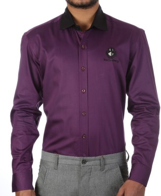 FORTY ONE FITZROY Men's Solid Casual Purple Shirt