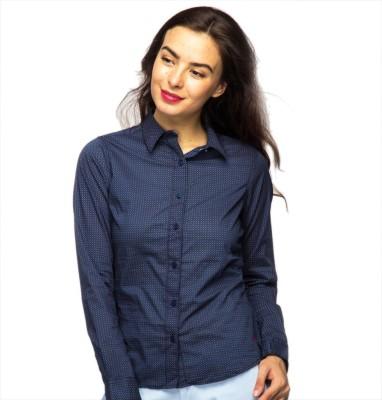 American Swan Women's Printed Casual Dark Blue Shirt