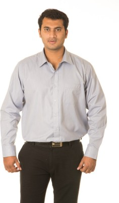 West Vogue Men's Solid Formal Grey Shirt