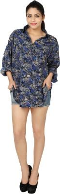 Chic Fashion Women's Floral Print Formal Blue Shirt
