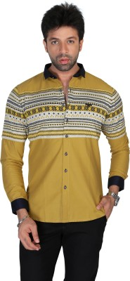 Apris Men's Self Design Casual Yellow Shirt