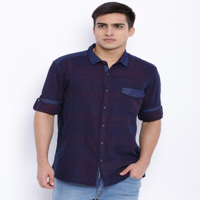 Le Bison Men's Checkered Casual Blue Shirt
