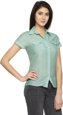 Texco Garments Women's Striped Casual Green Shirt