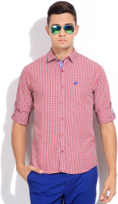 The Indian Garage Co. Men,s Checkered Casual Blue, Red Shirt