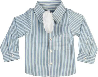 Mi Dulce An,Ya Baby Boy's Striped Party Blue Shirt