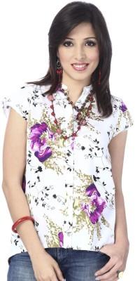 Enah Women's Floral Print Casual White, Purple Shirt