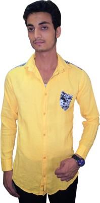 Ali Darzi Men's Solid Casual Yellow Shirt