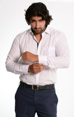 Skybe Men's Solid Casual White Shirt