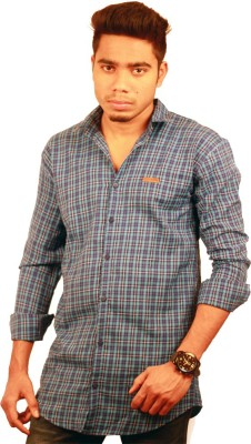 Etyhas Collections Men's Checkered Casual Blue Shirt