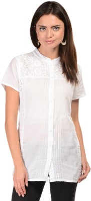 U&F Womens Solid Casual White Shirt