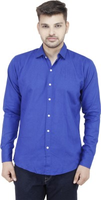 Movitex Men's Solid Casual Reversible Blue Shirt