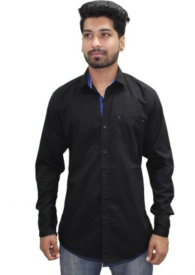 Ycan Men,s Self Design Casual Black Shirt