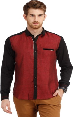 SPAWN Men,s Solid Casual Maroon Shirt