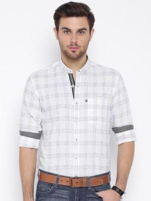 Harvard Men's Checkered Casual White Shirt