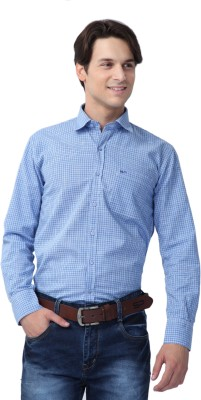 Spaky Men's Checkered Casual Blue, White Shirt