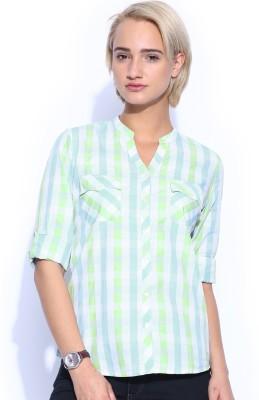 Mast & Harbour Women's Checkered Casual Green Shirt