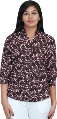 Estella Fashion Women's Polka Print Casual Brown Shirt