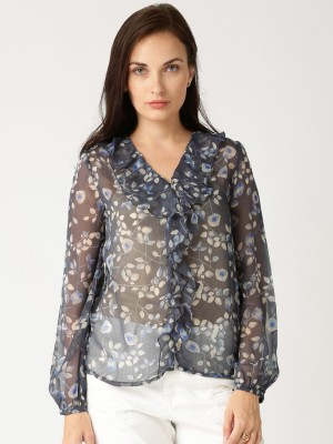 All About You Women's Printed Casual Blue Shirt
