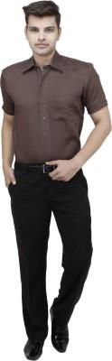 koutons outlaw Men's Solid Formal Linen Brown Shirt