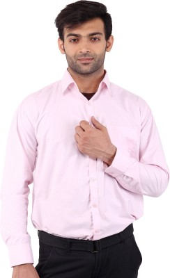 SIERA Men's Solid Casual Pink Shirt