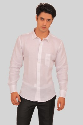 Green Bows Men's Solid Formal White Shirt
