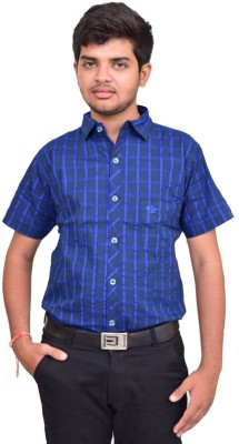 British Terminal Men's Checkered Casual Blue Shirt