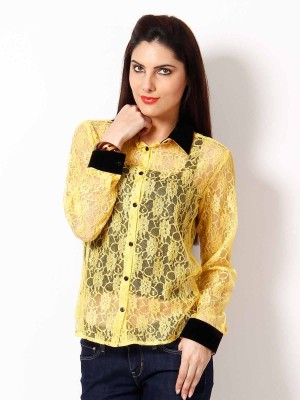 Hermosear Women's Solid Casual Yellow Shirt