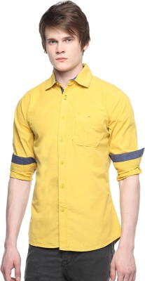 Hueman Men's Solid Casual Yellow Shirt