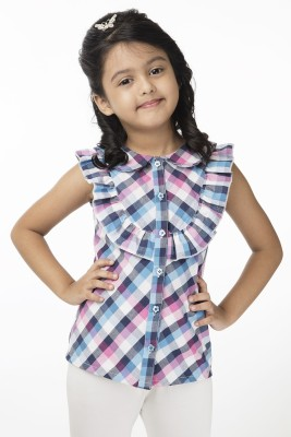Vastra Valley Girl's Checkered Casual Multicolor Shirt