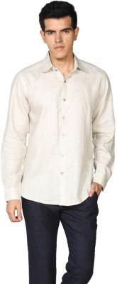 Provogue Men's Solid Formal Linen Beige Shirt